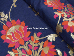 Banarasee Handwoven Art Silk Unstitched Lehenga & Blouse Fabric With Meena Work-Deep Blue
