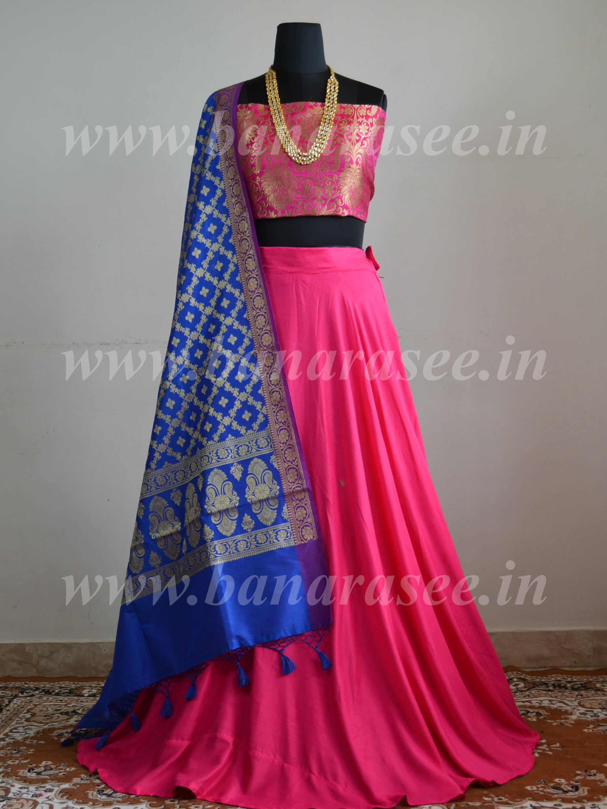 Banarasee Stitched Umbrella Lehenga & Blouse Fabric With Blue Art Silk Dupatta-Hot Pink