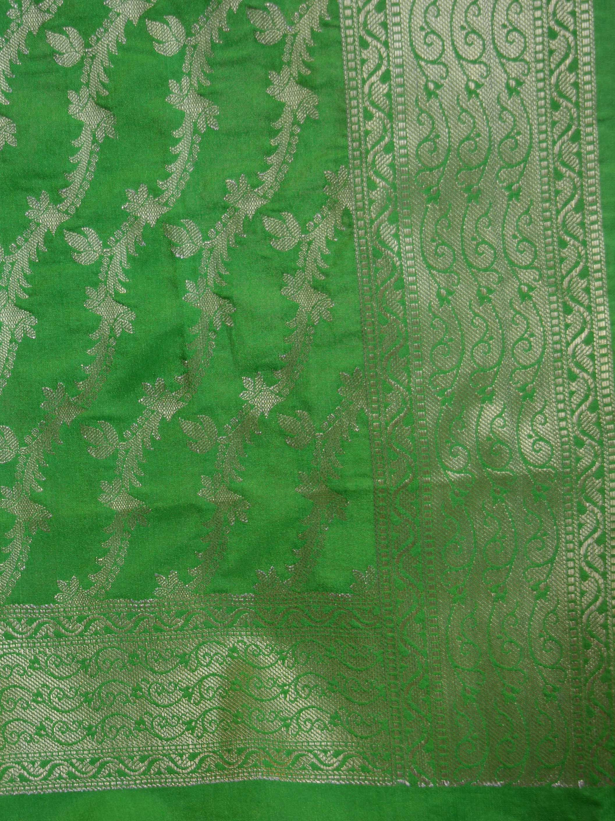 Banarasee Art Silk Dupatta Wave Design-Bright Green
