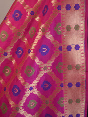 Banarasee Art Silk Dupatta With Meena Work Jaal Design-Hot Pink