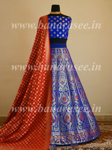 Banarasee Handwoven Art Silk Unstitched Lehenga & Blouse Fabric With Meena Design-Royal Blue