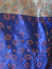 Banarasee Art Silk Saree With Floral Woven Design Contrast Blue Pallu-Beige