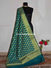 Banarasee Art Silk  Zari Drop Buta Design Dupatta-Deep Green