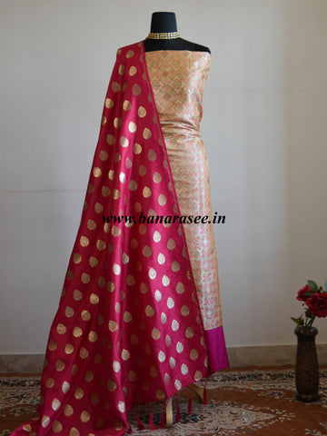 Banarasee Handwoven Satin Brocade Salwar Kameez Fabric & Pink Art Silk Dupatta-Peach
