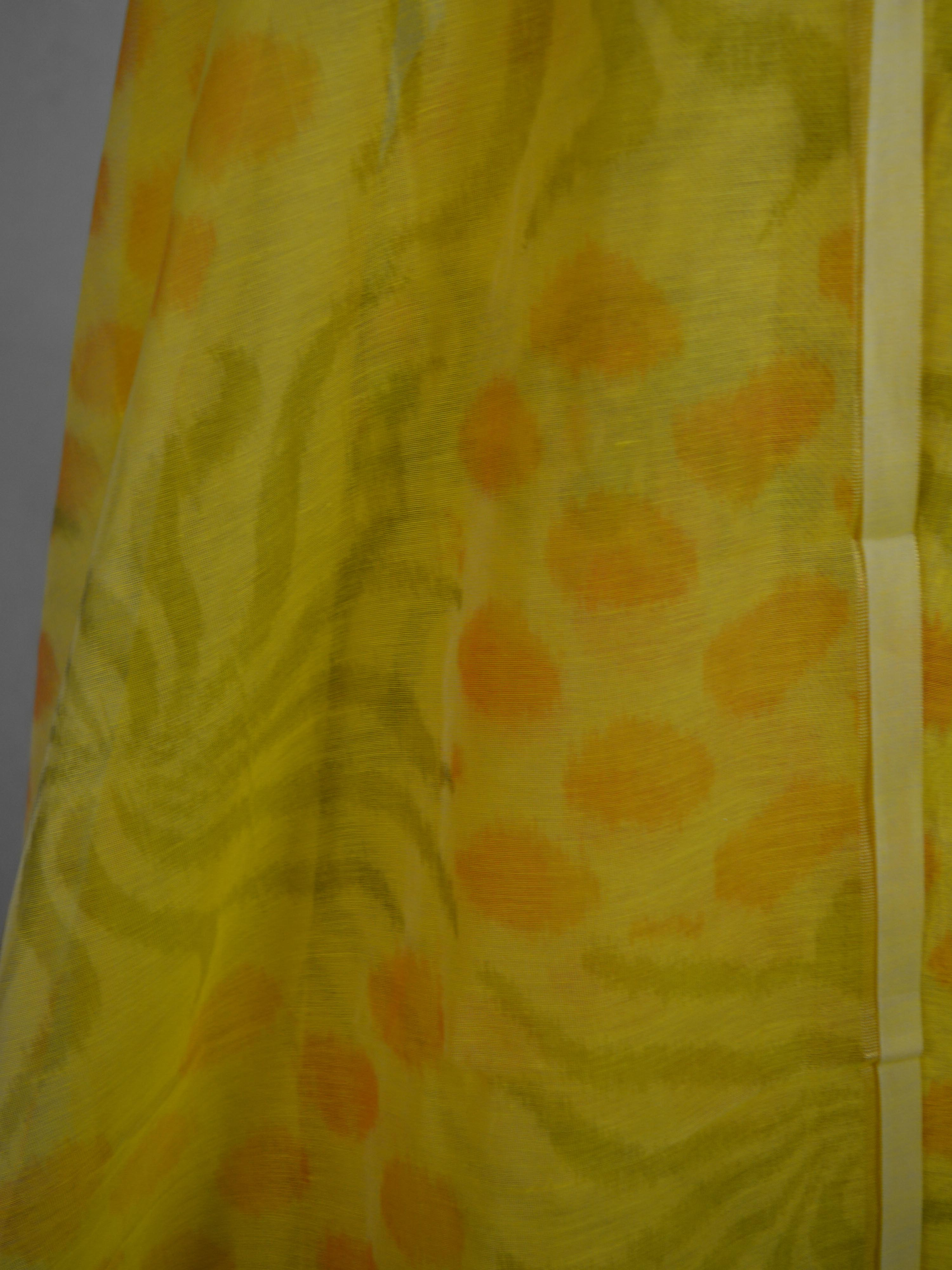 Banarasee Cotton Salwar Kameez Printed Fabric-Yellow