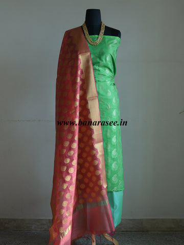 Banarasee Cotton Silk Paisley Design Salwar Kameez Fabric With Pink Zari Buta Dupatta-Green
