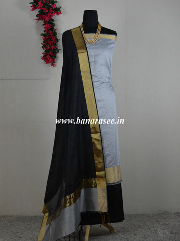 Banarasee Cotton Silk Salwar Kameez Resham Woven Fabric With Contrast Black Dupatta-Grey