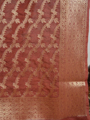 Banarasee Art Silk Dupatta Jaal Design-Brown