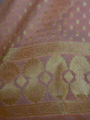 Banarasee Salwar Kameez Cotton Silk Gold Zari Buti Woven Fabric-Pastel Peach