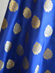 Banarasee Handwoven Satin Brocade Salwar Kameez Fabric & Blue Art Silk Dupatta-Green