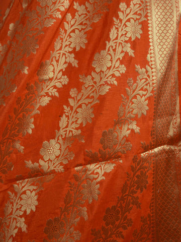 Banarasee Handwoven Art Silk Unstitched Lehenga & Blouse Fabric With Orange Dupatta-Hot Pink