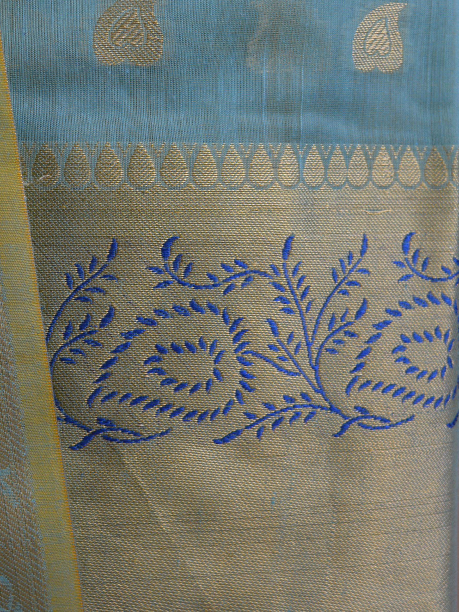 Banarasee Chanderi Cotton Salwar Kameez Fabric With Zari Dupatta-Blue(Dual Tone)