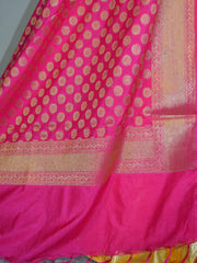 Banarasee Handwoven Art Silk Unstitched Lehenga & Blouse Fabric With Pink Dupatta-Yellow