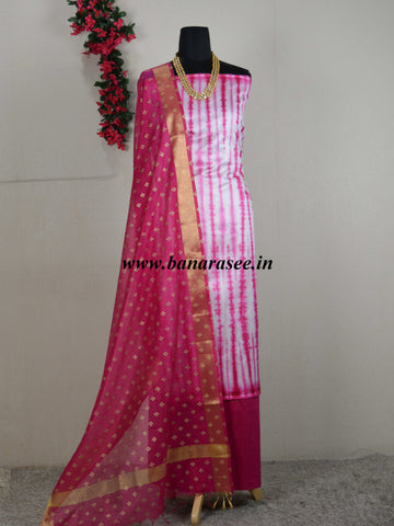 Banarasee Shibori Dyed Chanderi Salwar Kameez Fabric With Contrast Gold Print Dupatta-Off White