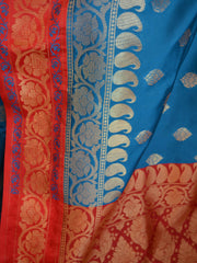Banarasee/Banarasi Art Silk Saree -Cobalt Blue & Red