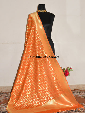 Banarasee Art Silk Dupatta Jaal Design Design-Orange