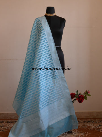 Banarasee Handloom Soft Cotton Resham Jaal Dupatta-Sky Blue