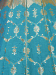 Banarasee Handwoven Art Silk Unstitched Lehenga & Blouse Fabric With Meena Work-Turquoise Blue(Dual Tone)
