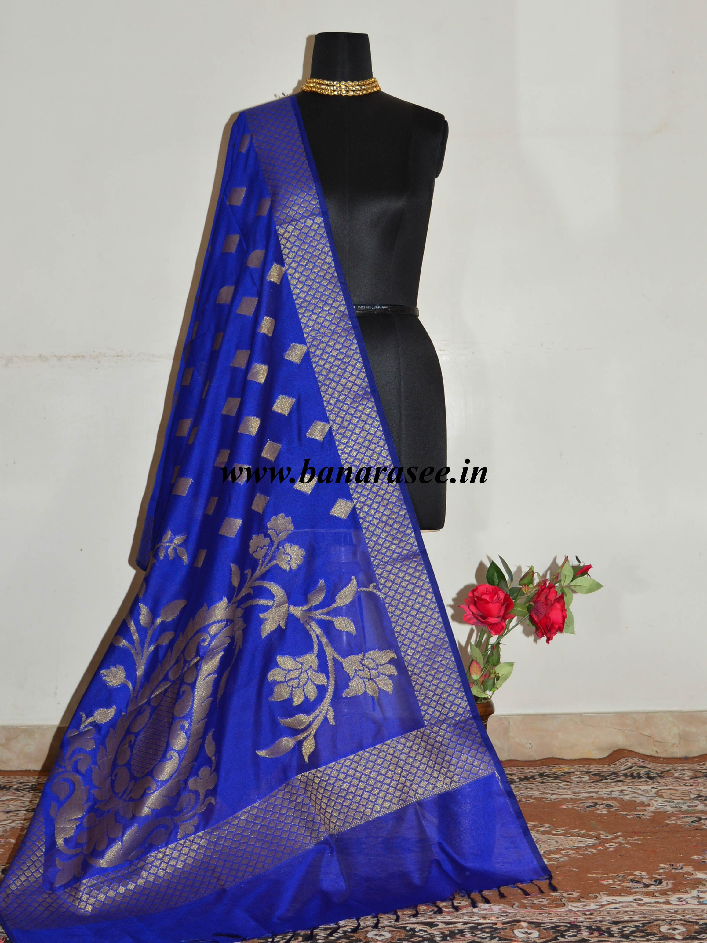 Banarasee Art Silk Antique Gold Zari Jaal Design Dupatta-Royal Blue