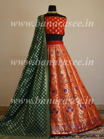 Banarasee Handwoven Art Silk Unstitched Lehenga & Blouse Fabric With Meena Design-Red