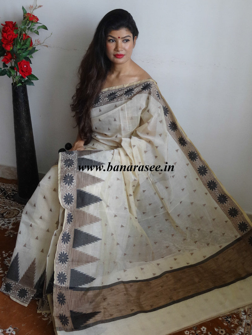 Banarasee Silk Cotton Saree With Black Meena Temple Border-Beige