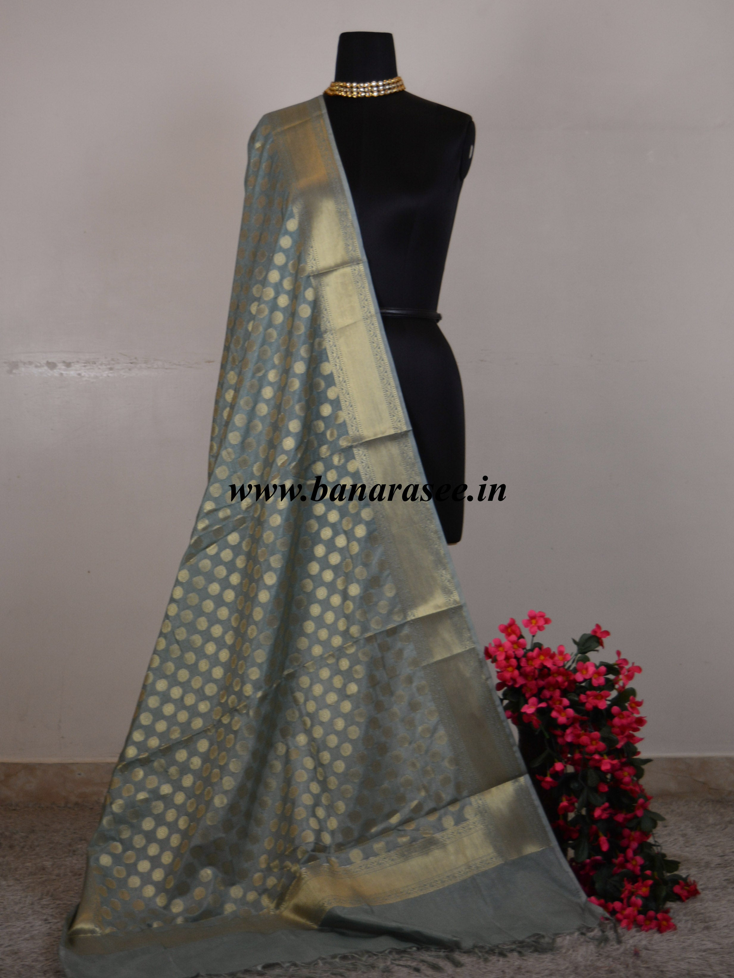 Banarasee Art Silk Dupatta Small Buti Design-Grey