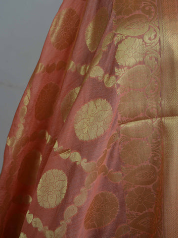 Art Silk Dupatta Jaal Design Design-Peach