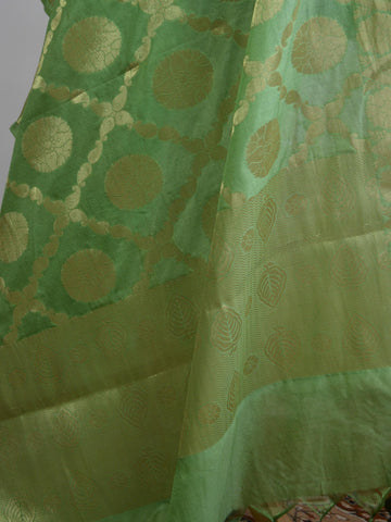 Art Silk Dupatta Jaal Design-Green