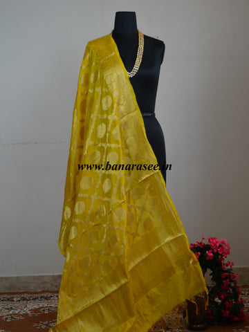 Art Silk Dupatta Jaal Design-Yellow
