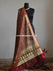 Banarasee Art Silk Dupatta With Zari Jaal & Pallu-Deep Red