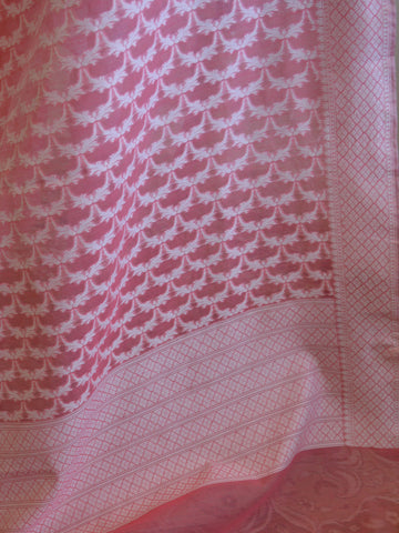 Banarasee Handloom Soft Cotton Resham Jaal Dupatta-Peach