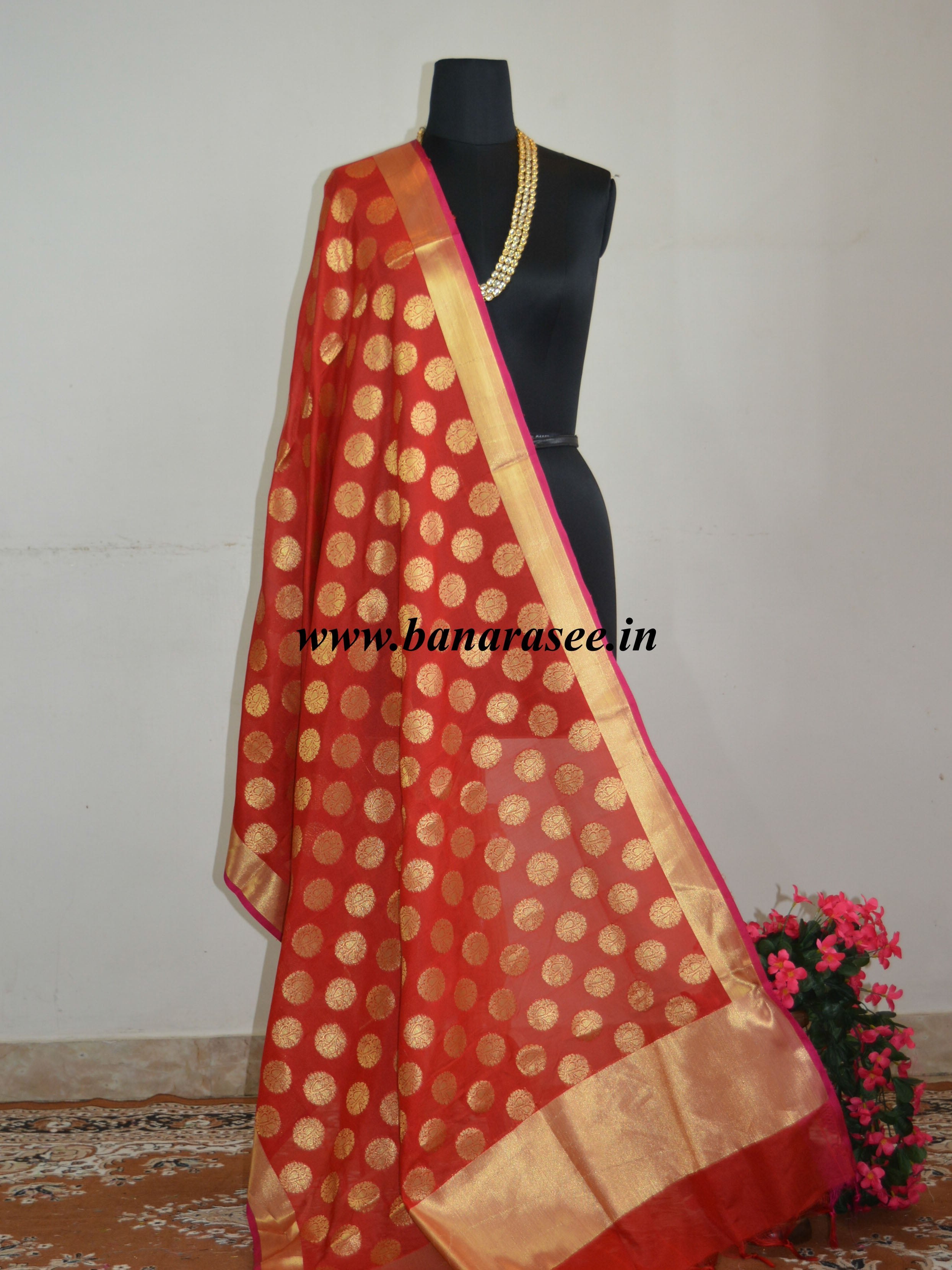 Art Silk Dupatta Circle Buti Design-Red