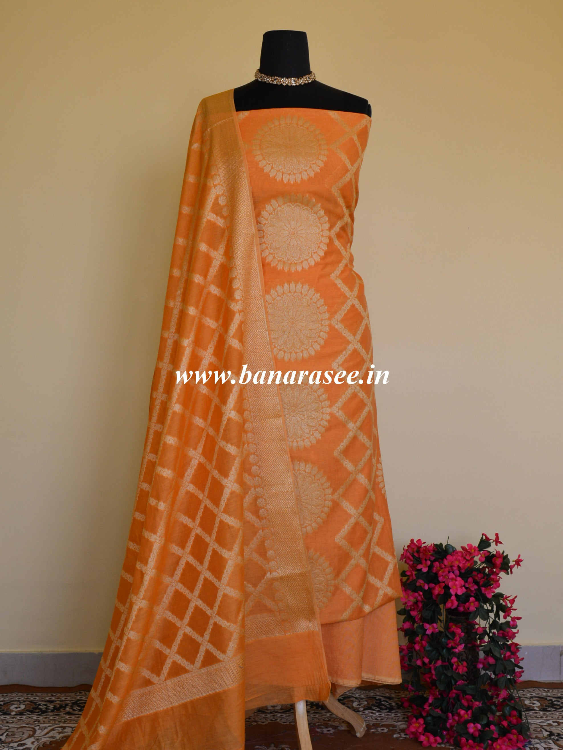 Banarasi Salwar Kameez Cotton Silk Woven Chakra Buta Design Fabric-Orange