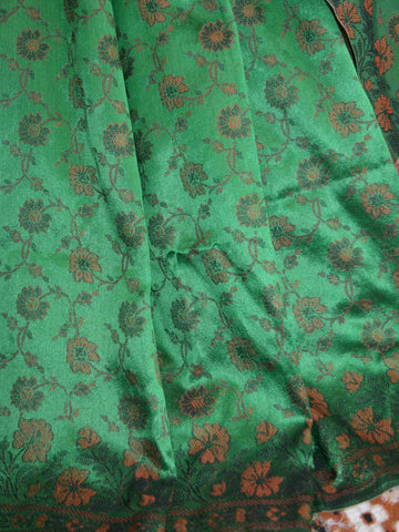 Banarasee Art Silk Saree With Floral Woven Design Contrast Pallu-Green