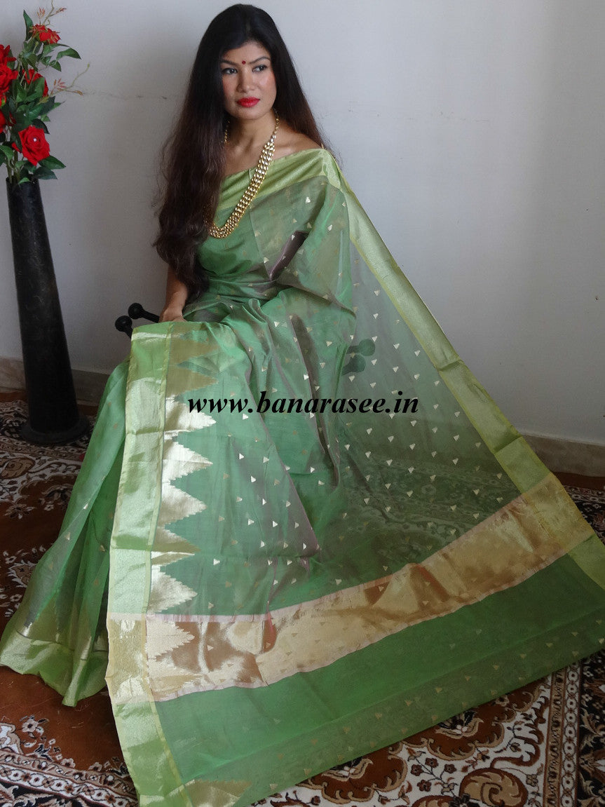 Banarasee Chanderi Cotton Zari Buti & Temple Border-Green