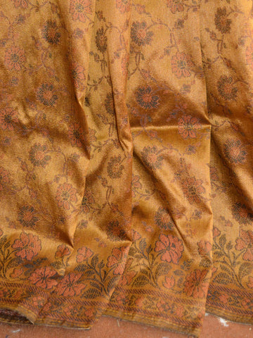 Banarasee Art Silk Saree With Floral Woven Design Contrast Pallu-Rust
