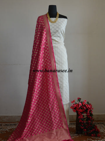 Banarasee Cotton Handloom Cotton Salwar Kameez Fabric With Pink Art Silk Dupatta-Off-White
