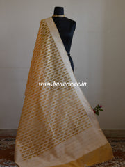 Banarasee Handloom Soft Cotton Resham Jaal Dupatta-Orange