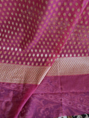 Banarasee Salwar Kameez Cotton Silk Gold Zari Jaal Woven Fabric-Purple