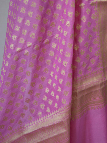 Banarasi Chanderi Cotton Salwar Kameez Broad Border Design Fabric With Art Silk Dupatta-Pink