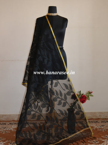 Banarasee Net Leaf patterned Dupatta-Black