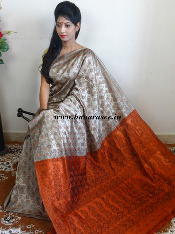 Banarasee Art Silk Saree With Floral Woven Design Contrast Rust Pallu-Beige