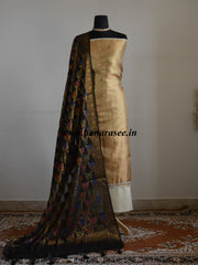Banarasee Tissue Salwar Kameez Fabric With Contrast Black Tussar Silk Dupatta-Gold