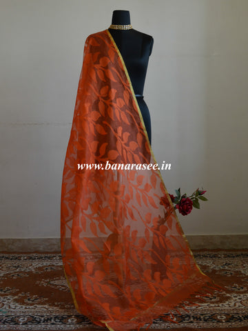 Banarasee Net Leaf patterned Dupatta-Orange
