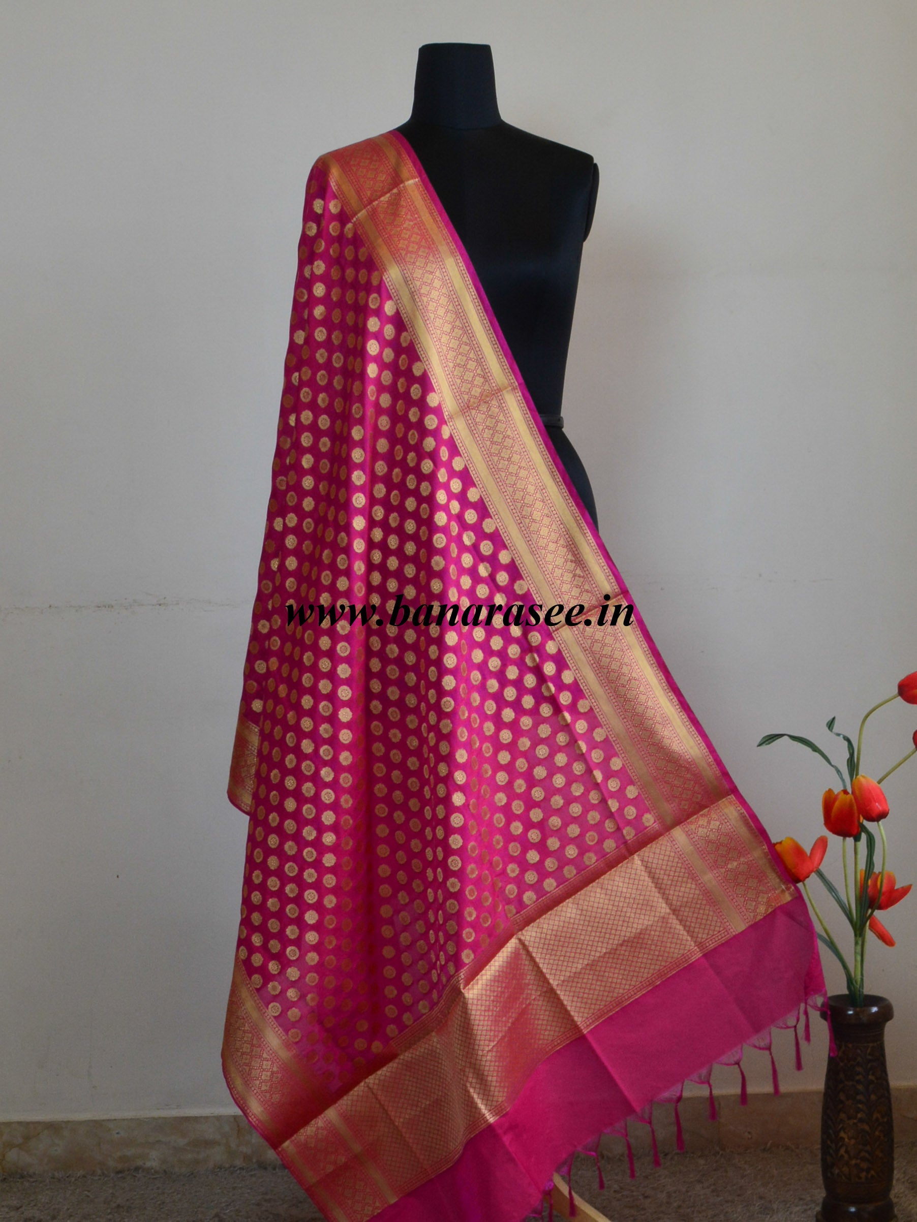 Art Silk Dupatta Small Buti Design-Hot Pink