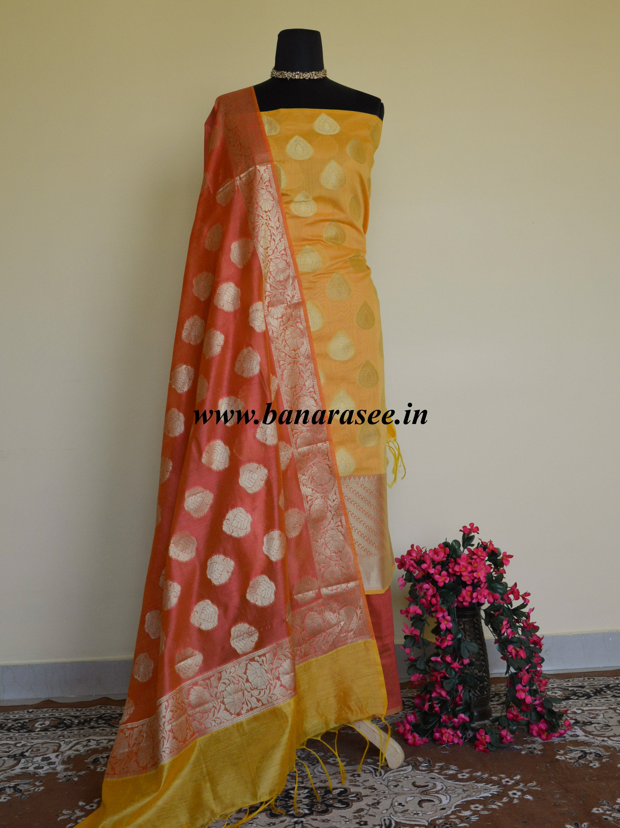 Banarasee Chanderi Cotton Salwar Kameez Fabric With Rust Zari Dupatta-Yellow