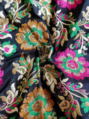 Banarasee Pure Kimkhwab Semi Silk Floral Jaal Fabric-Black