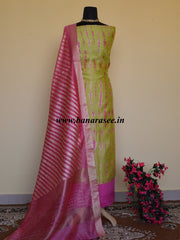 Banarasee Shibori Dyed Chanderi Salwar Kameez Fabric With Contrast Zari Dupatta-Lime Green