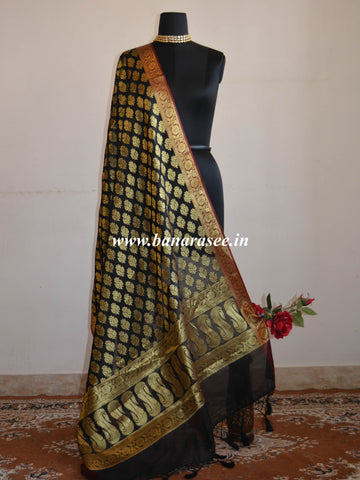 Banarasee Art Silk Dupatta With Zari Buti & Pallu-Black