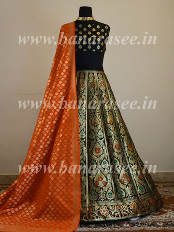 Banarasee Handwoven Art Silk Unstitched Lehenga & Blouse Fabric With Meena Design-Black